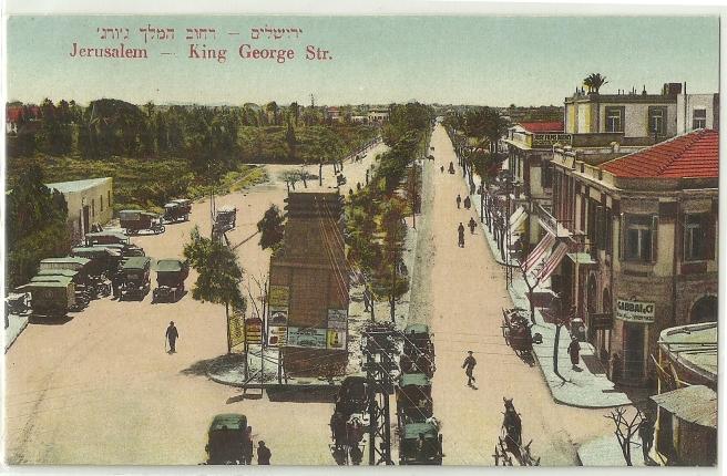 קינג ג'ורג' אבניו בשנות ה- 20, יפו ולא ירושלים כפי שהודפס בטעות.